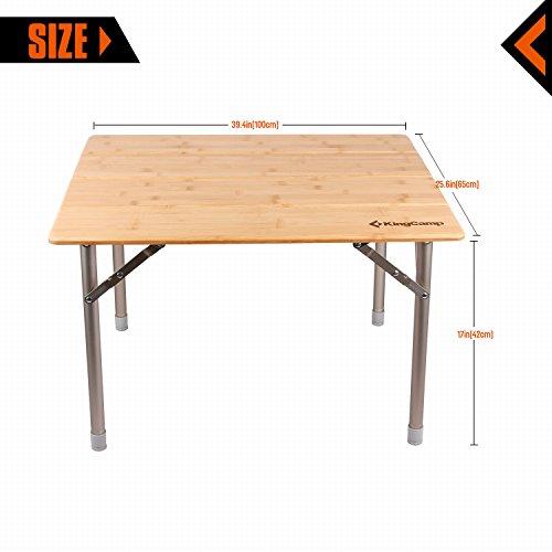 KingCamp 4 Fold Heavy Duty Adjustable Height Aluminum Frame Folding Bamboo  Table With Carry Bag