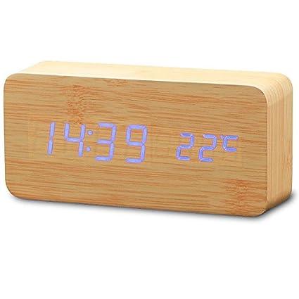 Gosear Digital Cubo Cuboide Reloj Alarma con Hora Fecha Temperatura Exhibición con Luz LED Azul y