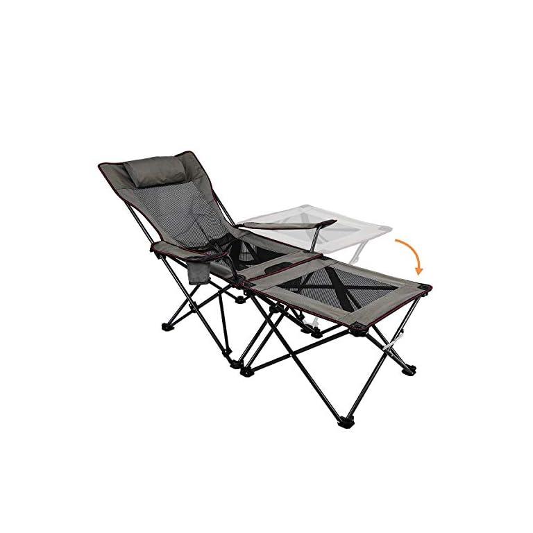 Asteri Campingstuhl Tragbare Klappstühle mit Getränkehalter, Abnehmbarer Beistelltisch und Tragetasche für Outdoor