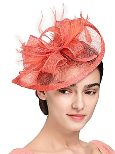 Fascinators Hat for Women Kentucky Derby Headband Wedding Mesh Feathers Tea Party Hair Clip (1-Coral)