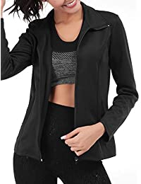Womens Running Sport Jacket Lightweight Full Zip Workout Track Jacket with Zipper Pockets