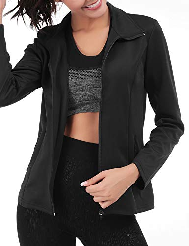 FISOUL Women's Running Sport Jacket Lightweight Full Zip Workout Track Jacket with Zipper Pockets(Black,Small)