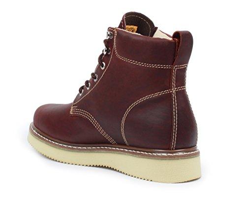 Bonanza Botas Goodyear Hombres 6 Premium Leather Classic Wedge Botas De Trabajo Welt Construcción Borgoña