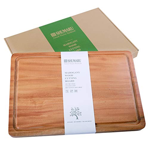 (MAHOGANY Large Thick Wood Cutting Board with Juice Drip Groove 17.5x11.8x1.1