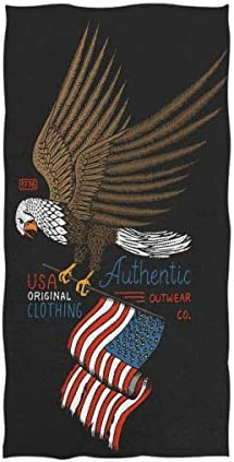 Hotel 16 x 30,Black Naanle Chic Patriotic Bald Eagle and American Flag Independence Day Soft Guest Hand Towels for Bathroom Gym and Kitchen