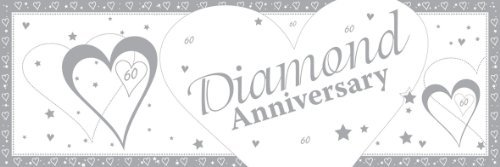 60th Diamond Anniversary Giant Silver & White Banner