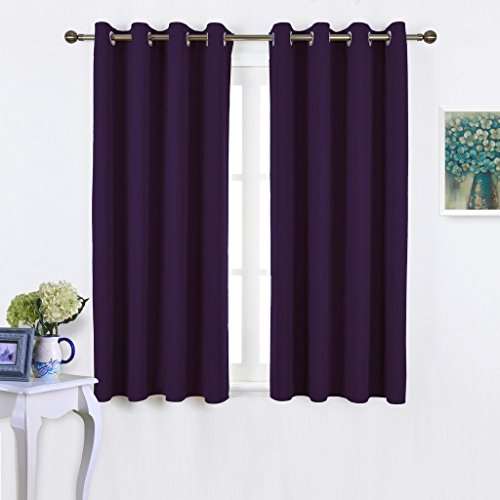 NICETOWN Insulated Curtains Blackout Draperies - Window Treatment Blackout Curtains / Drapes for Bedroom/ Living Room Window (63 inch Long, 2 Panel Set, Royal Purple) (Living Curtains Room Window)