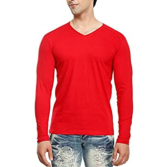 tees collection Men s V-Neck Full Sleeve Red Color Cotton T-Shirt (Small 84fc5e63325e