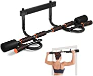 Doorway Pull Up Bar with Ergonomic Grip, Exercise Equipment Body Gym System No Screws Trainer, Multi-Grip Chin