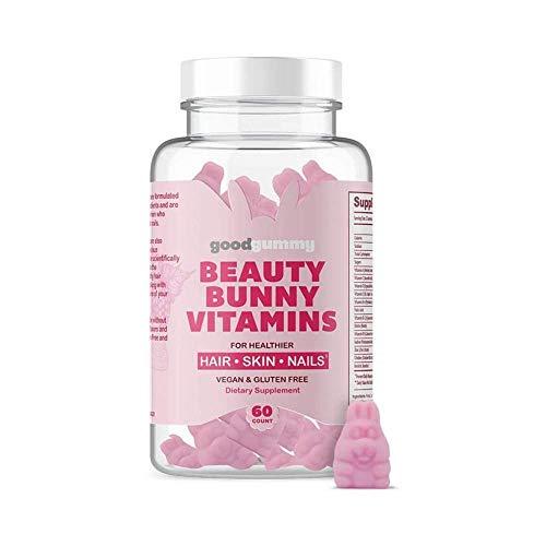 Good Gummy Beauty Bunny Sugar Hair Gummy Vitamins - Biotin Gummies Infused with Coconut Oil with Over 5000mcg Biotin + D, C, E, Multivitamin Gummies - Vegan & Gluten Free 60ct