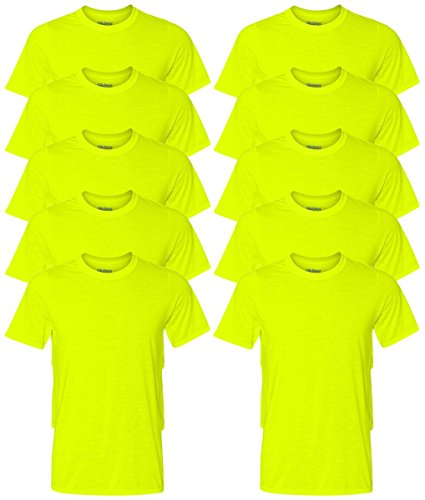 Gildan Mens Core Performance T Shirt Safety Green 2Xl  Pack Of 10