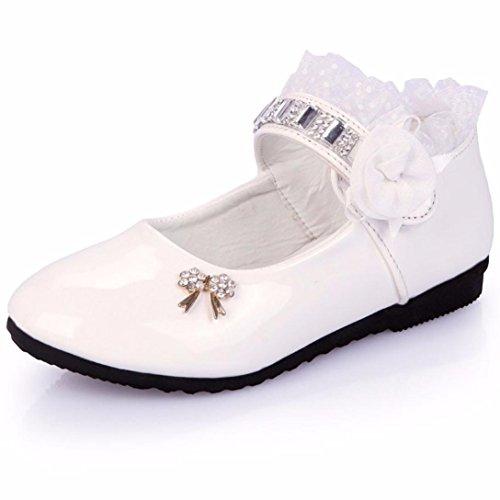 TPulling Mode Herbst Und Frühling Kinder 1T-6T Mädchen Diamant Süße Kinder Bogen Strass Tanzen Prinzessin Sandalen Schuhe Sportschuhe Rutschfeste Turnschuhe Lässige Schuhe Weiß