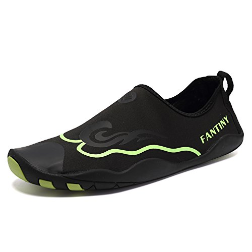 CIOR Men Women Kid's Barefoot Quick-Dry Water Sports Aqua Shoes With 14 Drainage Holes For Swim, Walking, Yoga, Lake, Beach, Garden, Park, Driving,DND012,1Black,39