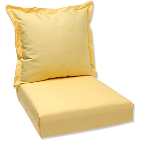 44 Sunbrella Yellow Outdoor Patio Deep Seating Cushion And Back Pillow