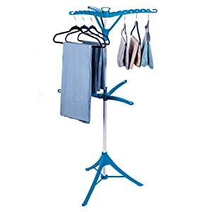 Drynatural Triod Clothes Drying Rack 2-Tier Garment Rack Portable Indoor Collapsible Garment Tree for Hanging Laundry, Blue