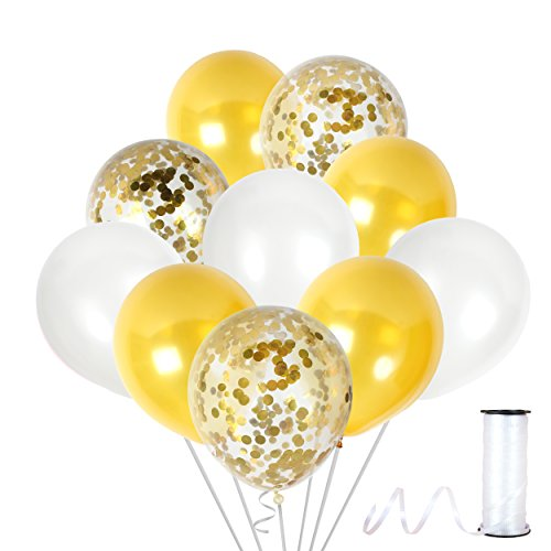 Ivory White and Gold Confetti Balloons for Baby