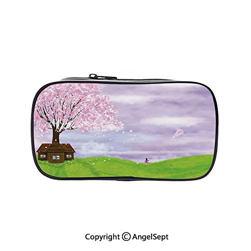 Bag Pen Case Felt Students Stationery Pouch Zipper Bag,Single House by Blooming Spring Tree and Little Girl with Kite Idyllic Picture Lime Green Lilac 5.1inches,for Pens,Pencils,and Other School Supp