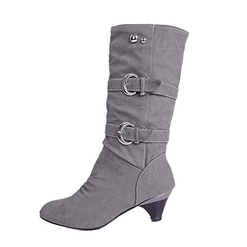Londony ♥‿♥ Clearance Sales,Women's Faux Fur-Lined Knee High Mid Calf Boots Buckles Combat Riding 817 Boots