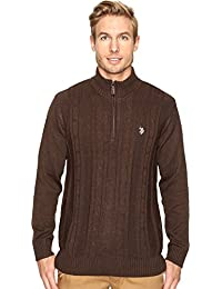 U.S. POLO ASSN. Mens 1/4 Zip Cotton Cable Sherpa