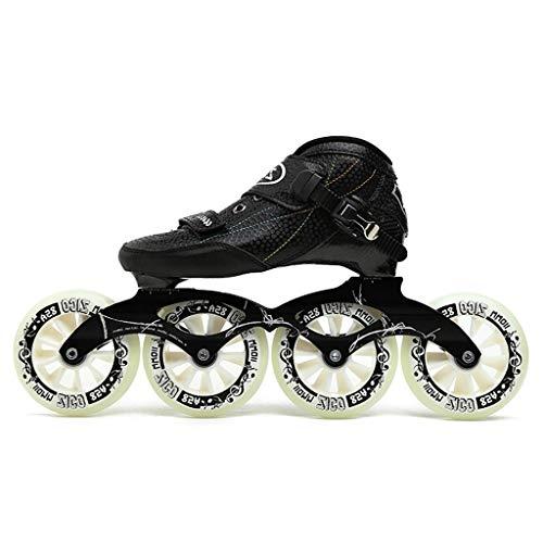Inline Skates Children's, Adult Men and Women Carbon Fiber Professional Single Row Speed Skating Shoes, 30-45 Yards (Color : Black, Size : 41)