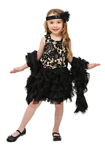 Toddler Dazzling Flapper Costume 2T Black,tan