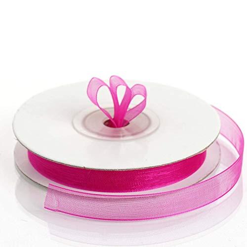 Sheer Organza Ribbon - 3/8 Inch Wide - 25 Yards (Fuschia) ()