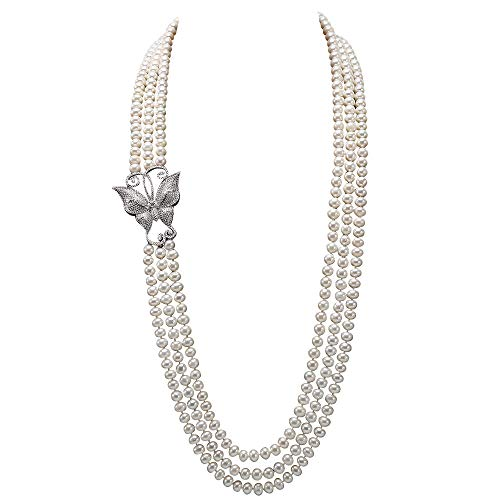 Strands Double Baroque Pearl Necklace (JYX Pearl Triple Strand Necklace AAA+ Quality 7.5-8mm Freshwater Cultured Pearl Opera Necklace)