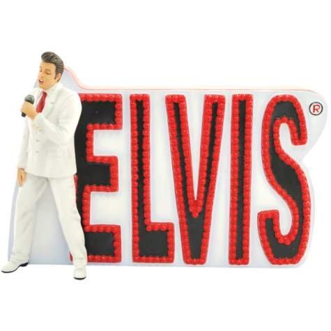[4.5 Inch Elvis Presley Wearing White Suit Name in Lights Figurine] (Elvis Presley Decorations)