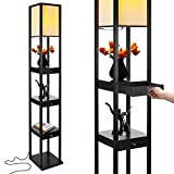 asian home decor Brightech Maxwell Drawer Edition - Shelf & LED Floor Lamp Combination - Modern Living Room Standing Light with Asian Display Shelves - Classic Black