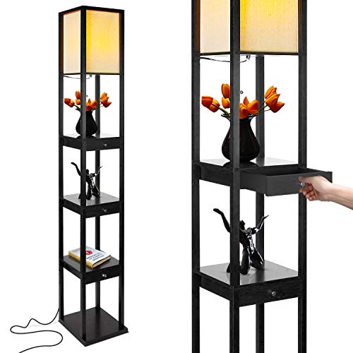 Square Lamp Metal Floor (Brightech Maxwell Drawer Edition - Shelf & LED Floor Lamp Combination - Modern Living Room Standing Light with Asian Display Shelves - Classic Black)