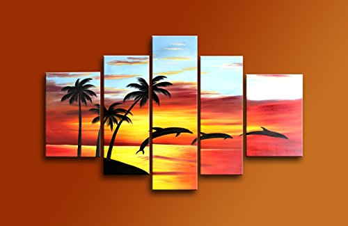 Costume Contest The Office Quotes (Sangu 100% Hand Painted Oil Painting Sunset Coconut Tree Dolphins Jumping on Canvas 5 Panels Landscape Wooden Frame Modern Art for Home and Wall Decor)
