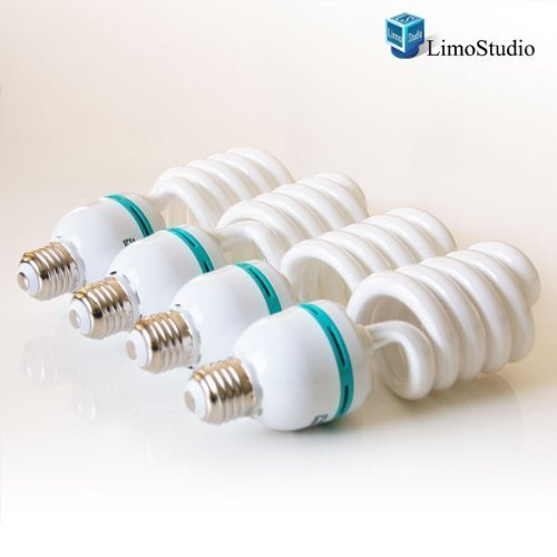 LimoStudio Full Spectrum Light Bulb- Four 45W Photography Photo CFL 6500K - Daylight balanced pure white light by LimoStudio, AGG874 (E27 Compact)