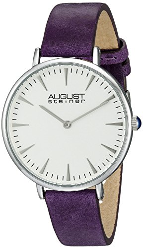 August Steiner Women's AS8187 Silver-Tone Watch with Purple Leather Band