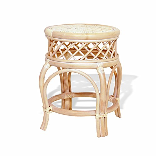 Handmade Round Stool Ginger Natural Rattan Wicker Fully Assembled Plant Stand, Cream