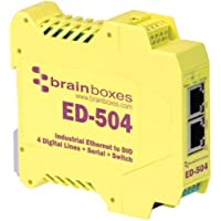 Brainboxes ED-504 Ethernet to Digital IO + Serial + Switch - 2 x Network (RJ-45) - 1 x Serial Port - Fast Ethernet - Rail-mountable - ED-504