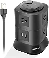 Power Bar with Long Cord 7 Multiple Plug Outlets 2 USB Outlet Tower Surge Protector Power Strip Desktop USB Charging...