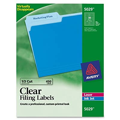 Avery 5029 Clear Self-Adhesive Filing Labels, 3-7/16 x 2/3, 15 sheets, 450 Labels