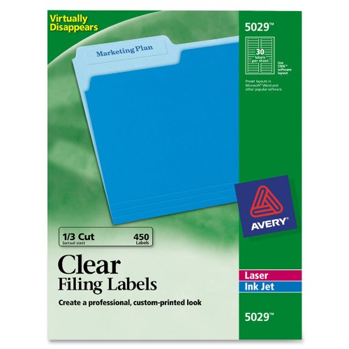 - Avery 5029 Clear Self-Adhesive Filing Labels, 3-7/16 x 2/3, 15 sheets, 450 Labels