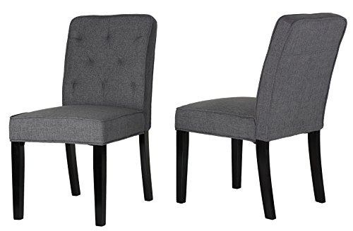 Cortesi Home Lyndon Dining Chair in Grey Linen Fabric with Tufted Back (Set of 2) (Furniture Lyndon)