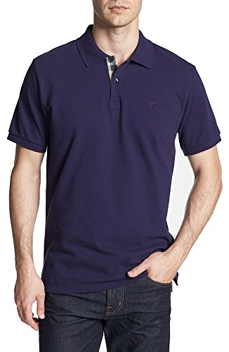 Burberry Brit Mens Short Sleeve Nova Check Placket Polo Shirt  Small  Dark Royal Purple