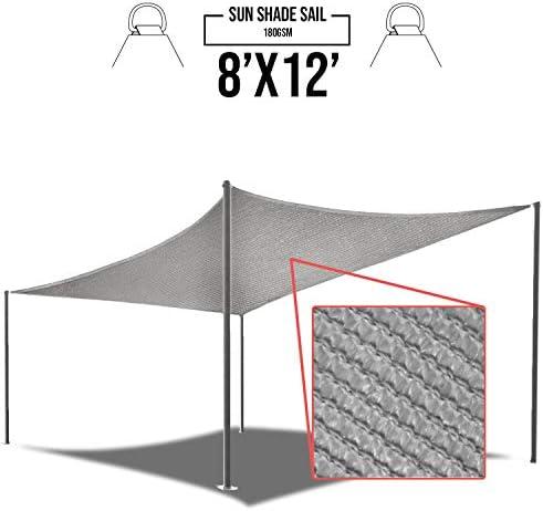 E K Sunrise 8 x 12 Light Grey Sun Shade Sail Square Canopy – Included Pad Eyes -Permeable UV Block Fabric Durable Patio Outdoor