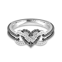Mrsrui Women's Infinity Love Cupid's Arrow Heart Rings Two Tone Bridal Engagement Wedding Halo Promise Eternity Rings