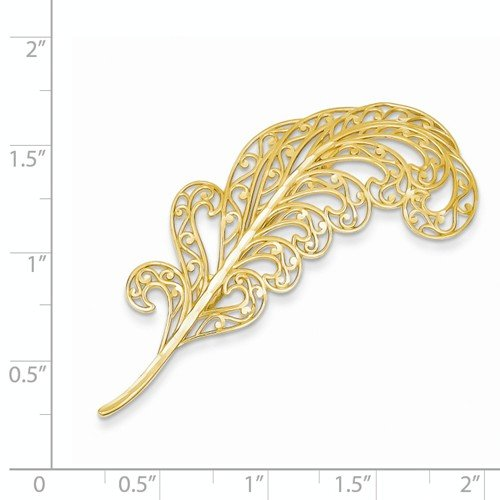 14k Yellow Gold Filigree Feather Pin Fancy Brooch 52mm x 20mm by Nina's Jewelry Box (Image #1)