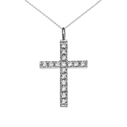 Collier Femme Pendentif Élégant 10 Ct Or Blanc Diamant Croix (Livré avec une 45cm Chaîne)