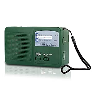 41LL9Srcv3L. SS300  - Emergency Radio with Solar and Hand Crank Self Powered, Battery USB Recharging FM/AM Radio LED Flashlight Cell Phone Charger(Green)