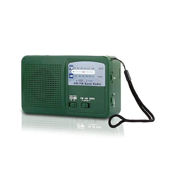 41LL9Srcv3L. SS600  - Emergency Radio with Solar and Hand Crank Self Powered, Battery USB Recharging FM/AM Radio LED Flashlight Cell Phone Charger(Green)