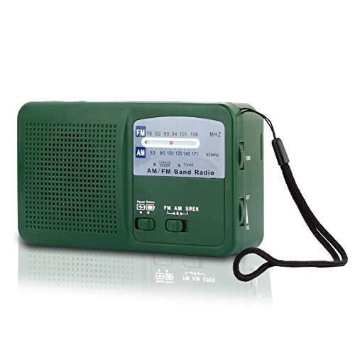 41LL9Srcv3L - Emergency Radio with Solar and Hand Crank Self Powered, Battery USB Recharging FM/AM Radio LED Flashlight Cell Phone Charger(Green)