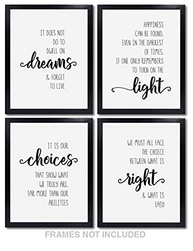 Print Gift Home Decor - Confetti Fox Harry Potter Wall Decor - Set of 4 Unframed 8x10 White Pearl Art Prints - Dumbledore Quotes and Sayings Themed Art Gift for Home, Bathroom, Bedroom, Kids, Baby