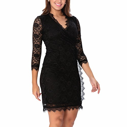 One Sight Women's 3/4 Sleeves Lace Dress Business Cocktail Midi Formal Wrap Dress, Black - Sight One