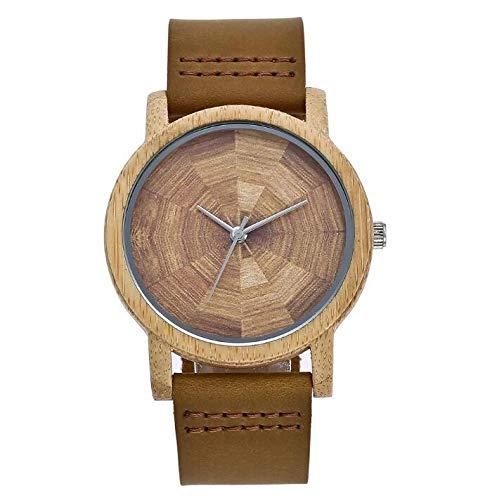 Reloj para Hombres y Mujeres Parejas Correa de Cuero de bambú Fino Reloj de Cuarzo para Hombres: Amazon.es: Relojes